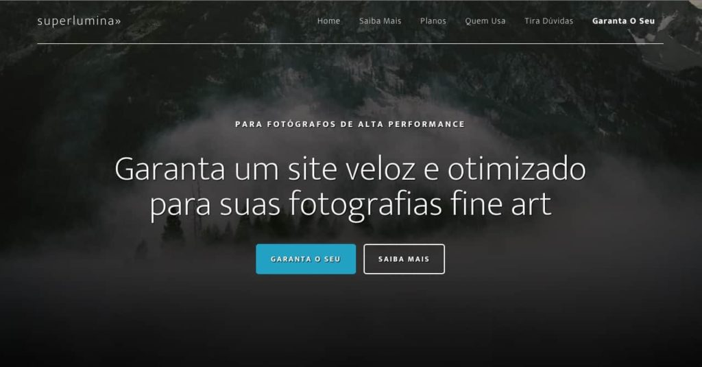 Home da plataforma superlumina.com.br
