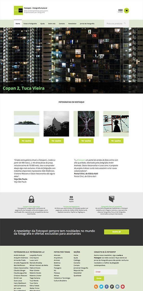 Home page do novo site da Galeria Fotospot - Fotografia Autoral