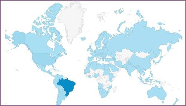 Pessoas de mais de 100 países de diversos idiomas e culturas visitam o site de Cássio Vasconcellos