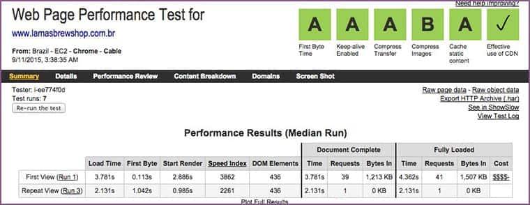 os testes do site da Lamas Brewshop pós da otimização. Ganhos de 3 a 4 vezes.