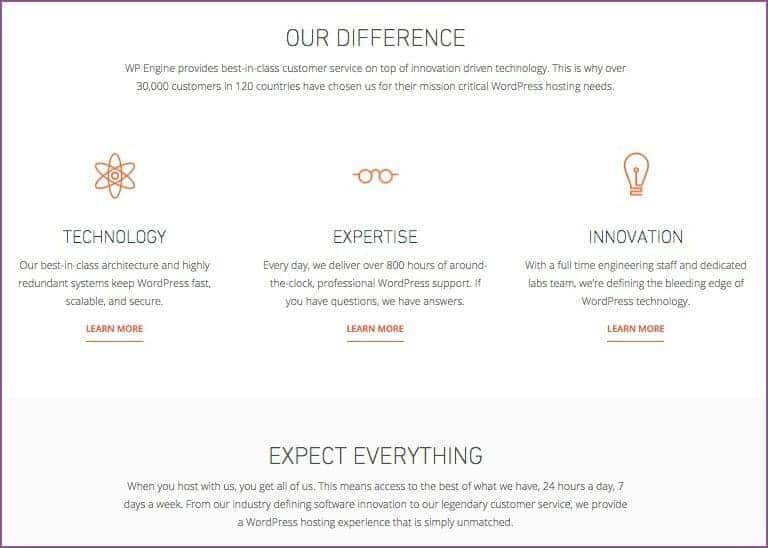 página do site WPengine