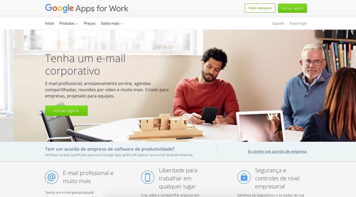 Site do Google Apps for Work