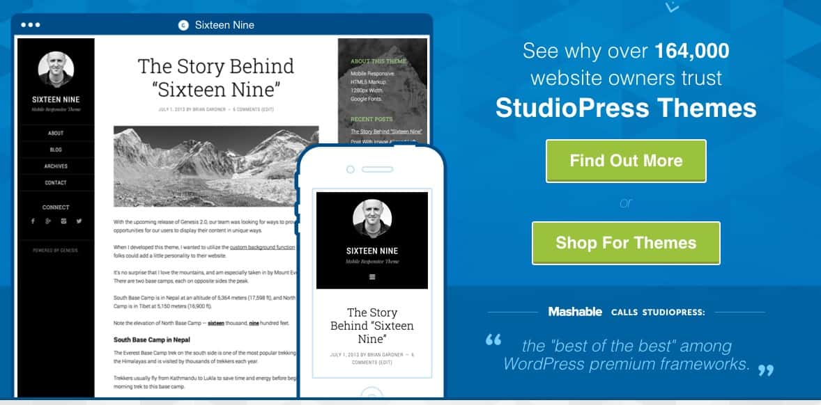 Tela do site de StudioPress mostra um dos temas