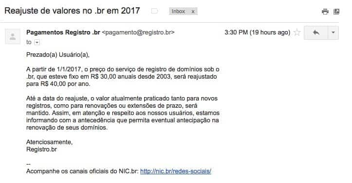 email do NIC.br alertando sobre o aumento do valor para registro de domínio