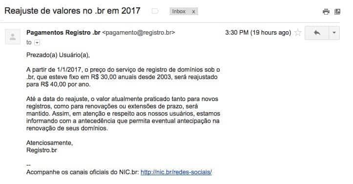 email do NIC.br alertando sobre o aumento do valor para registro de domínio